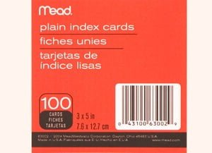 Mead 3 x 5 Plain Index Cards - Case of 72